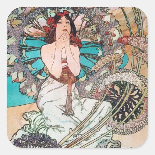 Diosa de Nouveau del arte Calcomanías Cuadradass