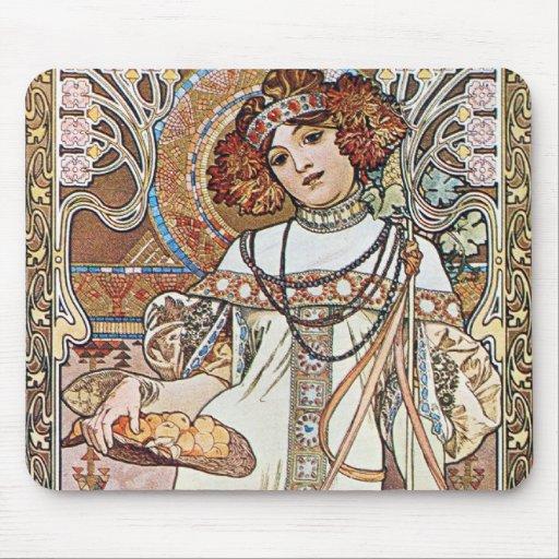 Diosa de Nouveau del arte Mouse Pads