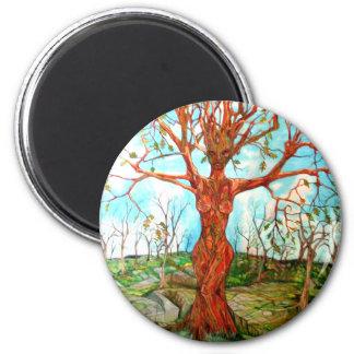 Diosa del árbol imán redondo 5 cm