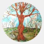 Diosa del árbol pegatina redonda