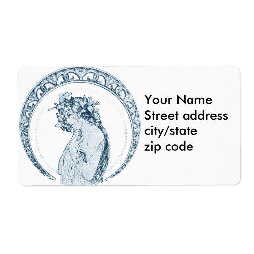Diosa del azul del vintage etiquetas de envío