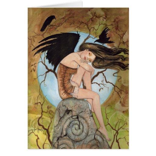 Diosa del cuervo III por Lorri Karels Tarjeta De Felicitación