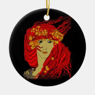 Diosa del fuego con el pelo y las flores de la adorno de navidad