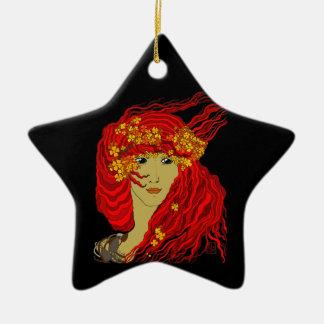 Diosa del fuego con el pelo y las flores de la lav adorno de navidad