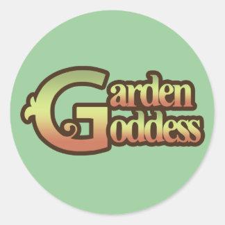 Diosa del jardín pegatina redonda