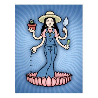 Diosa del jardín tarjeta postal