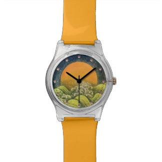 DIOSA del SOL de AMATERASU, amarillo, verde, negro Relojes De Pulsera