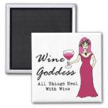 """Diosa del vino """"que toda la cosa cura con el vino  imán de frigorífico"""