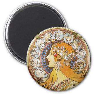 Diosa del zodiaco imán redondo 5 cm