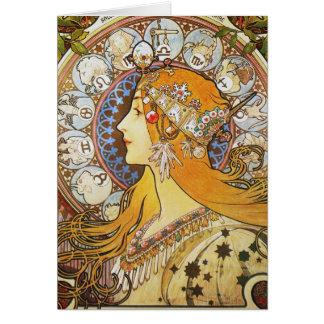 Diosa del zodiaco tarjeton