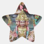 Diosa Durga con el templo hindú de tres cabezas Pegatina En Forma De Estrella