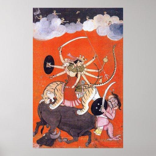Diosa Durga que lucha Mahishasura Póster