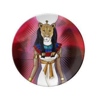 Diosa egipcia antigua Sekhmet Plato De Cerámica