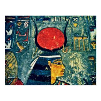 Diosa egipcia colorida Hathor en tumba real Postal