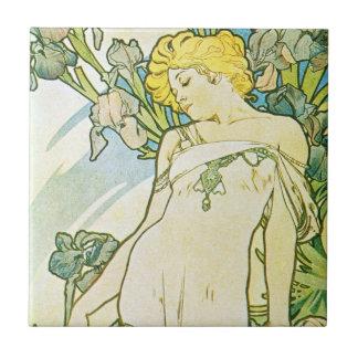 Diosa floral azul del iris teja cerámica