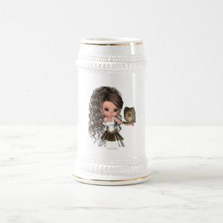 Diosa griega hermosa Athena de Kawaii Jarra De Cerveza