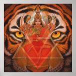Diosa hindú Durga y poster del arte del tigre