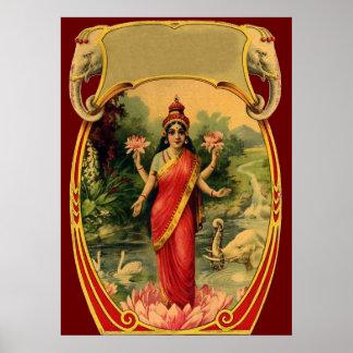 diosa hindú Lakshmi de la flor de Lotus del vintag Póster