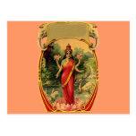 diosa hindú Lakshmi de la flor de Lotus del vintag Tarjetas Postales