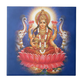 Diosa hindú Laxmi Devi Mata Azulejo Cuadrado Pequeño