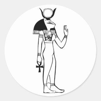 Diosa, jeroglífico egipcio pegatina redonda