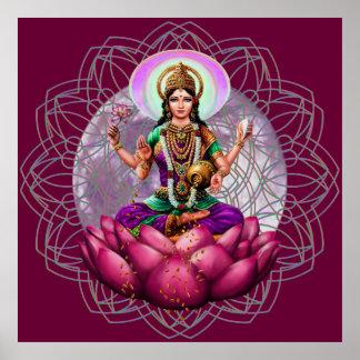Diosa Lakshmi - mandala de la bendición de la riqu Poster