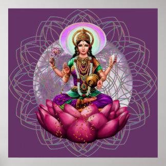 Diosa Lakshmi - mandala de la bendición de la riqu Póster