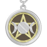 Diosa negra del triple del Pentagram de la plata d Colgante Redondo