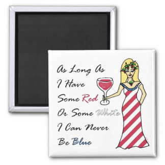 "Diosa patriótica del vino ""nunca azul "" iman para frigorífico"