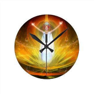Diosa positiva de la energía reloj redondo mediano