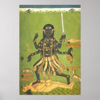 Diosa sangrienta el patrón de Kali de los Póster