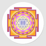 Diosa Shri Lalitha Tripura Sundari de Sri Chakra Etiqueta Redonda