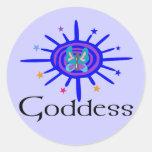 Diosa Sun y estrellas Etiquetas Redondas