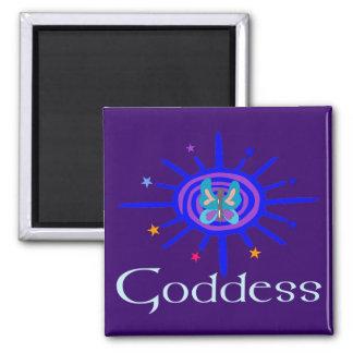 Diosa Sun y estrellas Imán Cuadrado