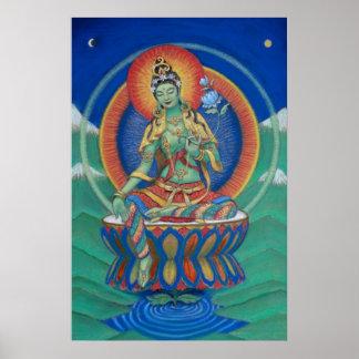 Diosa tibetana Buda de Tara del verde del poster d