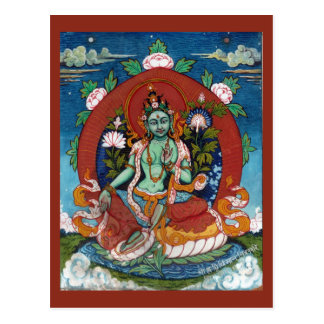 Diosa tibetana verde de Tara de la compasión Tarjetas Postales