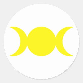 Diosa triple amarilla etiqueta redonda