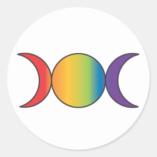 Diosa triple (arco iris) pegatina redonda