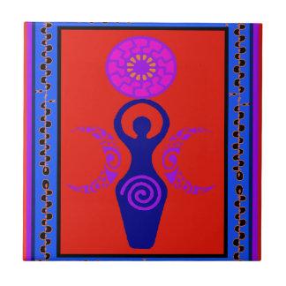 Diosa triple azulejo ceramica