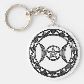 Diosa triple con Pentagram Llaveros