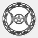 Diosa triple con Pentagram Pegatinas Redondas