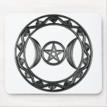 Diosa triple con Pentagram Tapetes De Raton