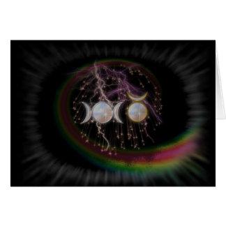 Diosa triple de atontamiento de Wiccan cósmica Tarjeta De Felicitación