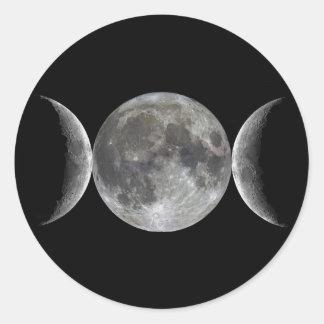 Diosa triple de la luna pegatina redonda