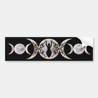 Diosa triple del Moonstone de la luna Pegatina De Parachoque