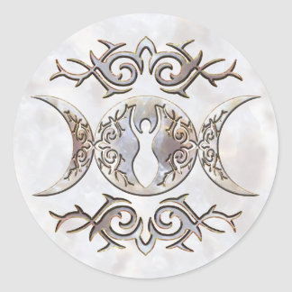 Diosa triple del Moonstone de la luna Pegatina Redonda