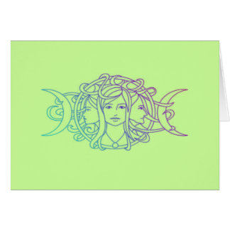 Diosa triple pagana de la luna de Wiccan Tarjeton