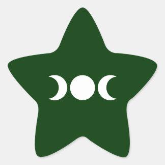 Diosa triple verde pegatina en forma de estrella