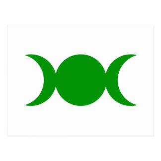 Diosa triple verde postal