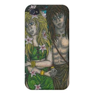 Diosa y dios de cuernos iPhone 4 cárcasas